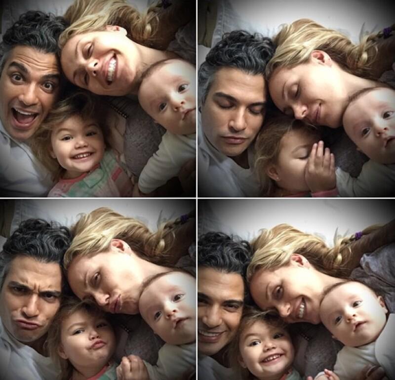 El actor mexicano le da los buenos días al Año Nuevo en la Ciudad de México con imágenes de su esposa Heidi y sus hijos Elena y Jaime.