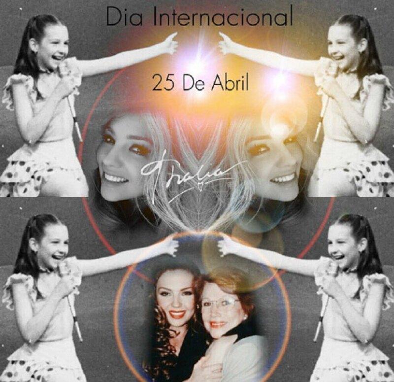 Con collages de su infancia fue como Thalía