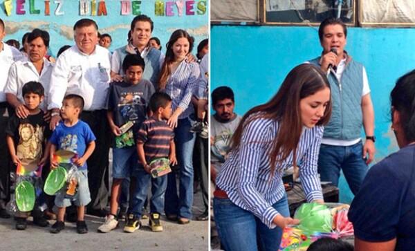 Sherlyn y Gerardo Islas se dieron a la tarea de repartir juguetes en la región indígena de la mixteca en Puebla.