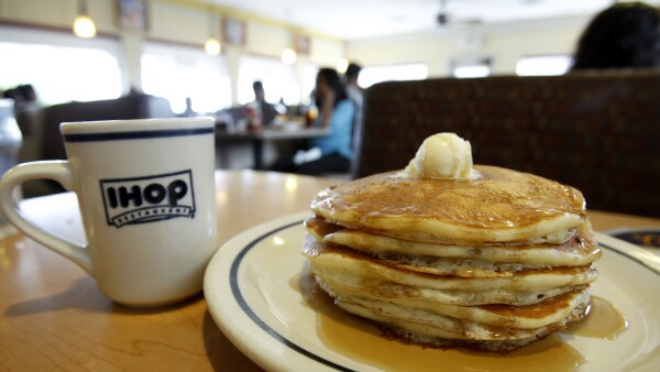 A stack of pancakes are pictured at an IHOP restaurant in Los Angeles