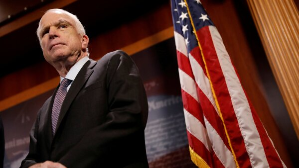 "FILE PHOTO - Senator John McCain (R-AZ) looks on during a press conference about his resistance to the so-called ""Skinny Repeal"" of the Affordable Care Act on Capitol Hill in Washington"