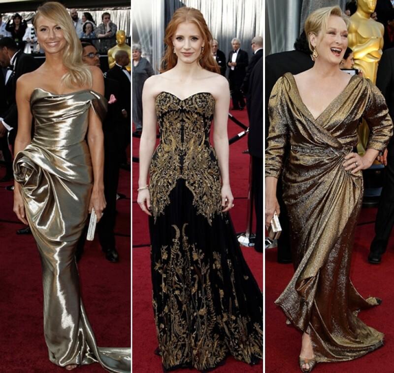 Jessica Chastain y su McQueen negro y dorado fueron de lo mejor de la noche.
