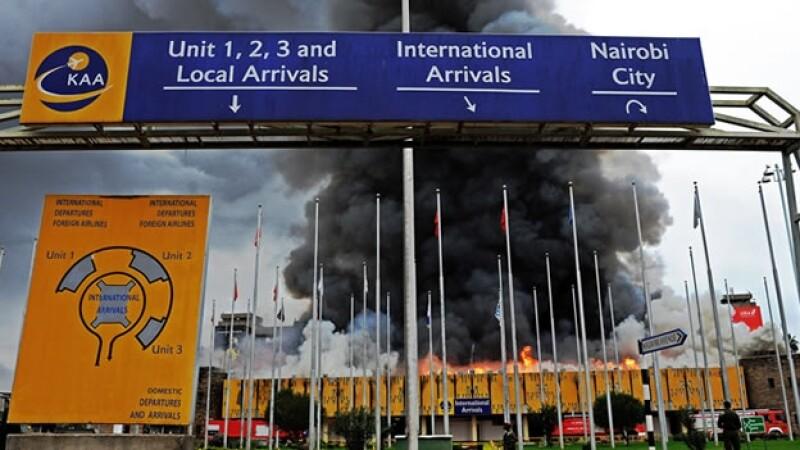 incendio, aeropuerto, kenia
