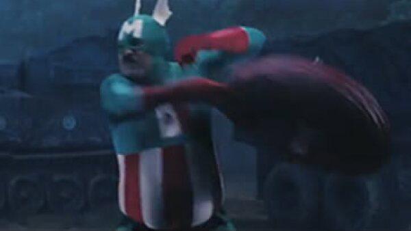 El peculiar superhéroe se vale de su sombrero para enfrentar no a uno, sino a tres personajes de Hitler. (Foto: Imagen tomada de YouTube)