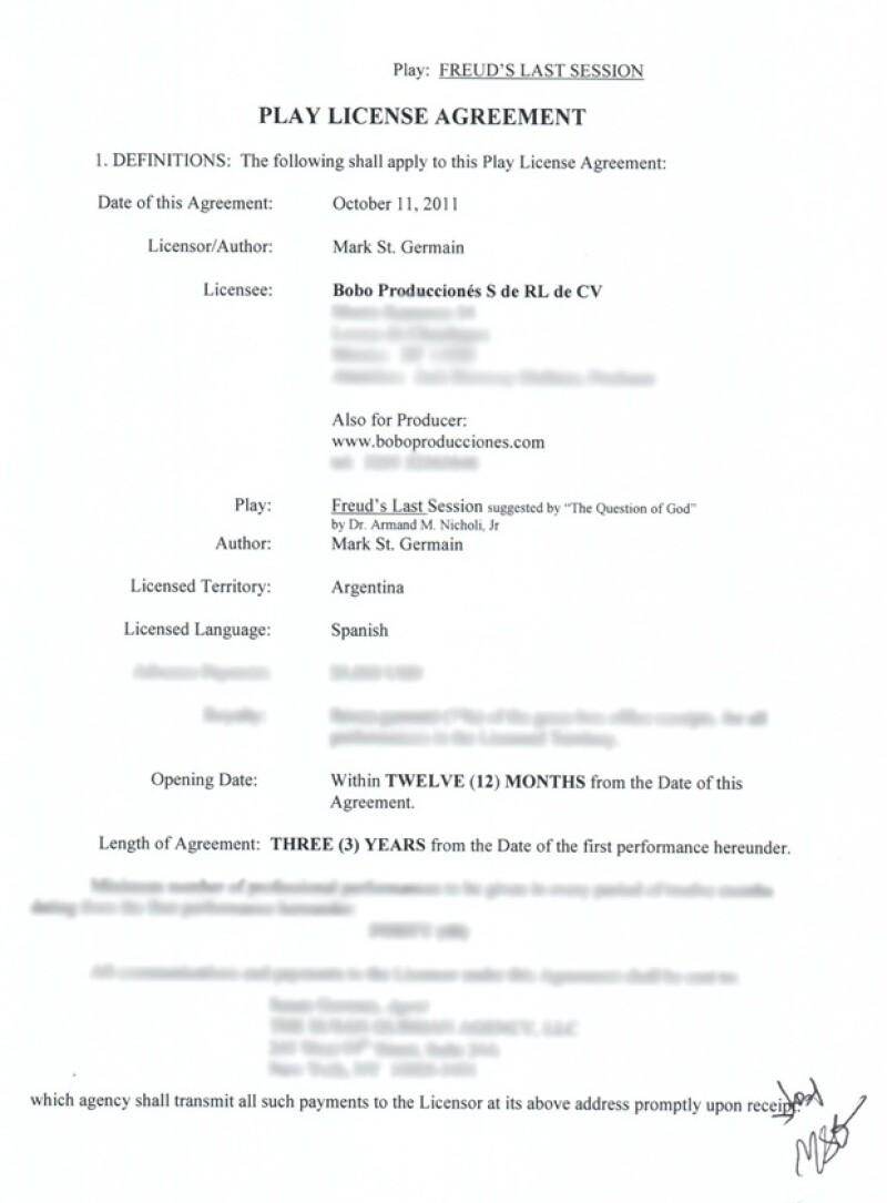 Este es el documento que ha difundido la productora.