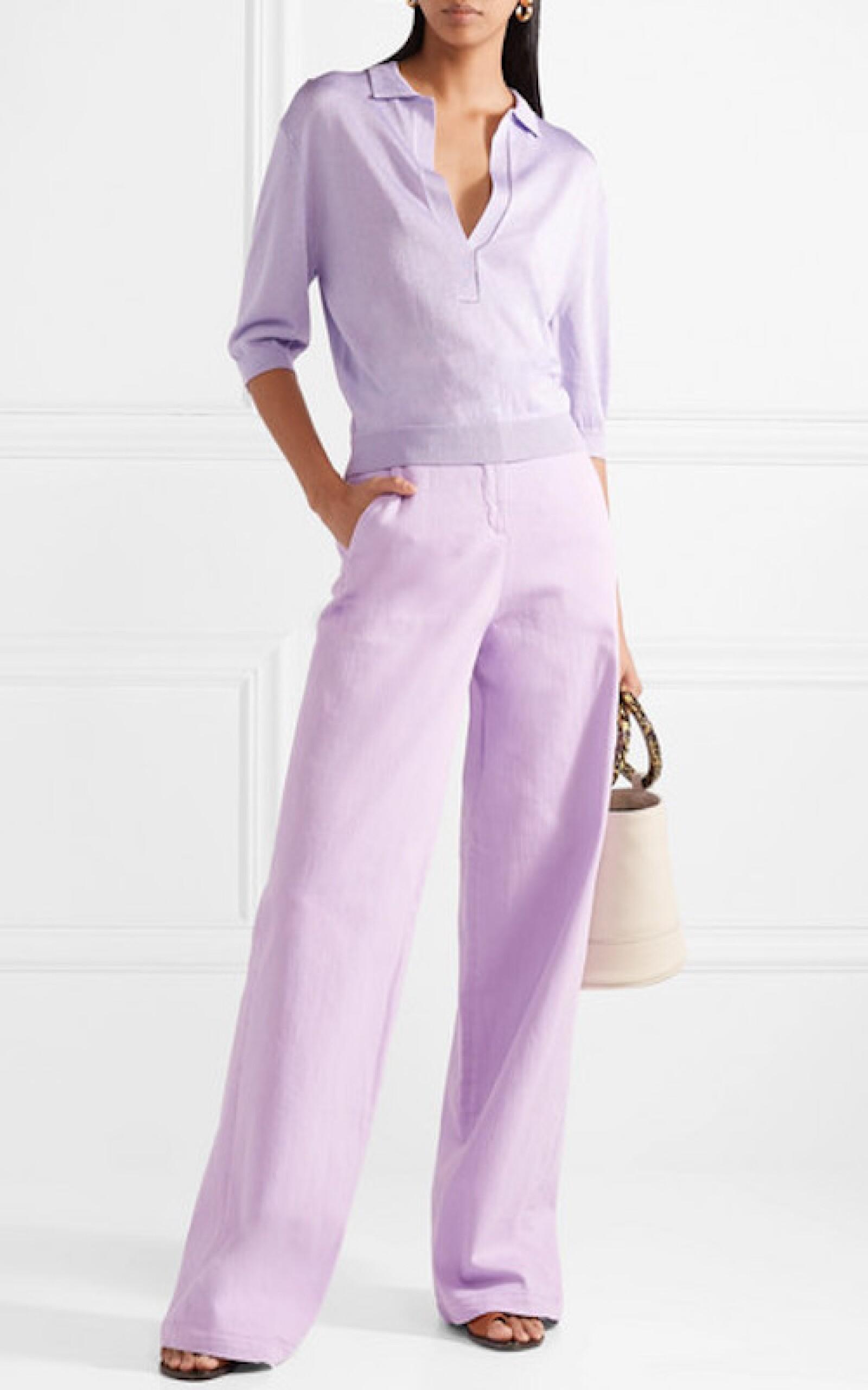 TIBI Cotton-blend wide-leg pants