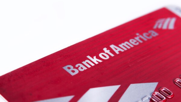 Bank of america debit card close up isolated on white