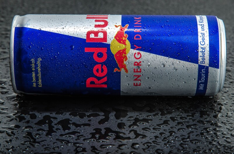 Blue-silver Red Bull can