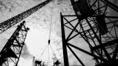 Silhouette construction sites with ringer cranes and scaffolding.