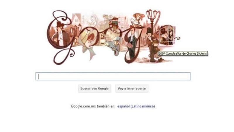 El buscador celebra los 200 años del nacimiento del escritor con una imagen de sus obras en su página principal.