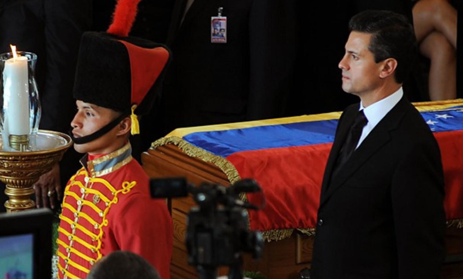 El 8 de marzo, el priista asistió al funeral de Estado en honor del presidente de Venezuela, Hugo Chávez Frías, quien falleció tres días antes víctima de cáncer.