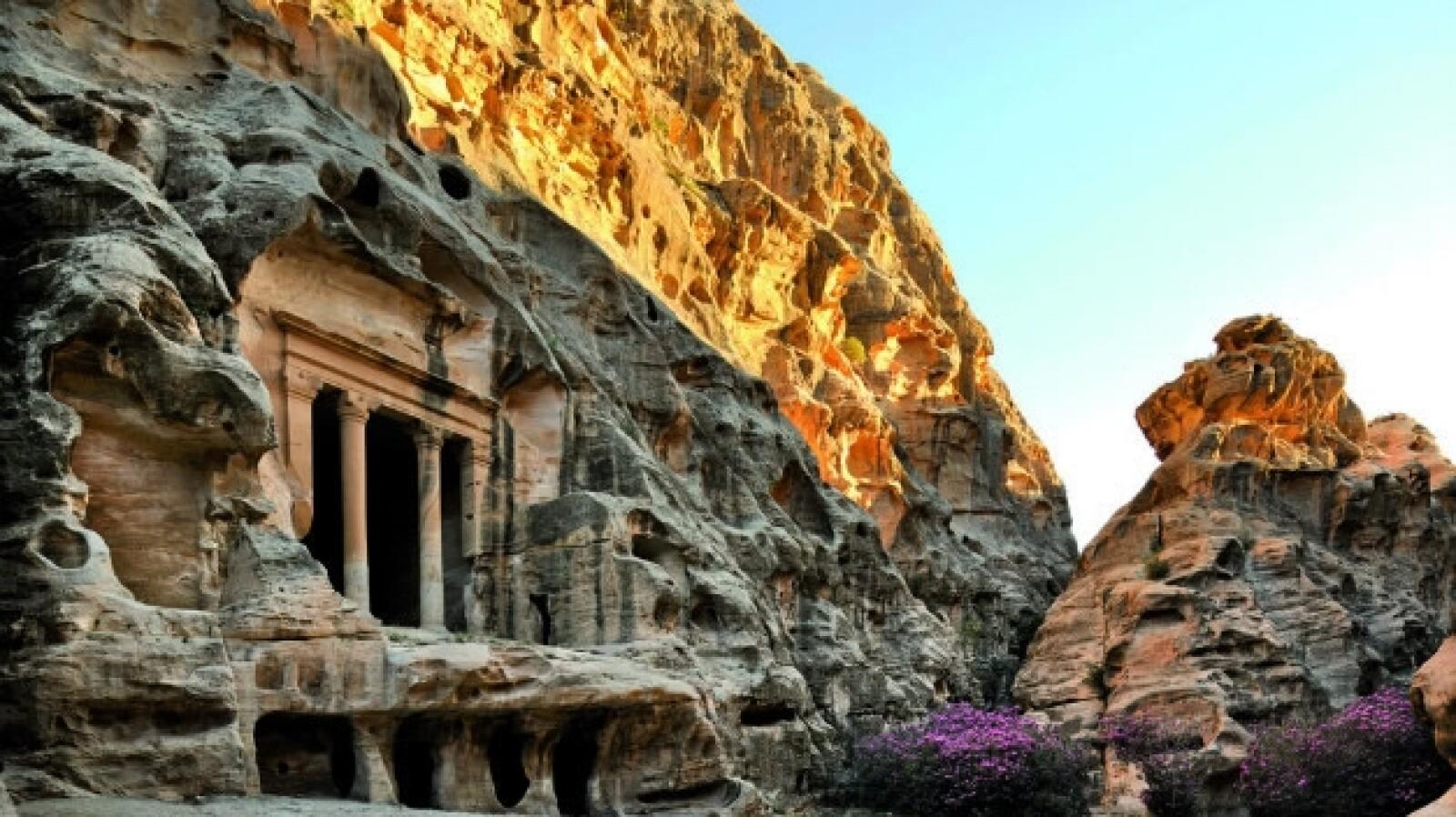 Rock face city of Petra, Jordan