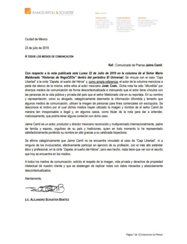 Comunicado de prensa Jaime Camil