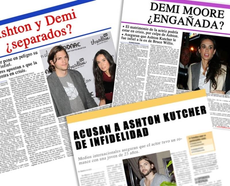 CUANDO EL RÍO SUENA. Ashton Kutcher y Demi Moore se encuntran en medio de rumores de una posible separación.