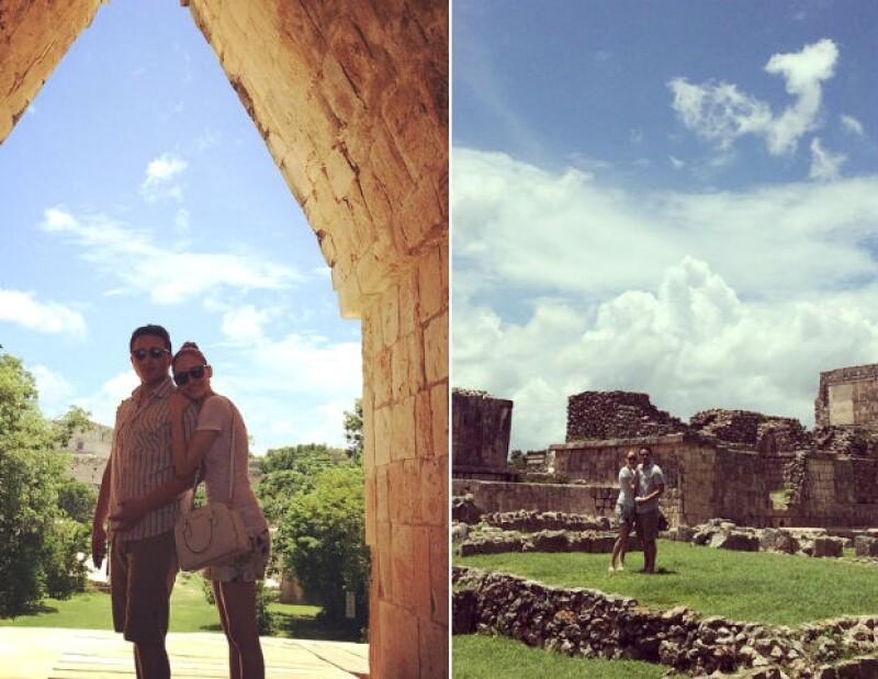 Ceci de la Cueva y César conocieron las ruinas en Uxmal.