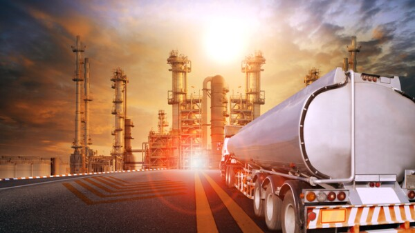oil container truck and heavy petrochemical industries plant for