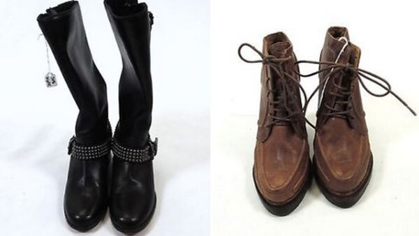 Botas altas Christian Louboutin de piel Talla 5 1/2 660 dólares / Botines de piel marrón Chunky Heels Talla 5 1/2.  117 dólares