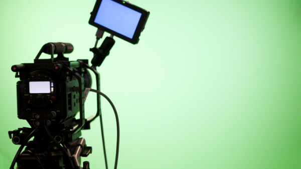 Television Camera on Green Screen Background