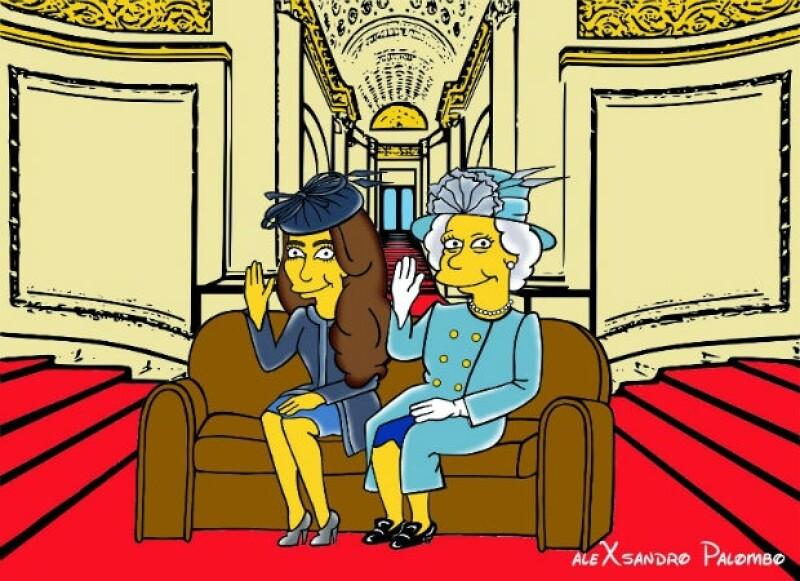 La reina y la duquesa se verían así en el mundo de The Simpsons.