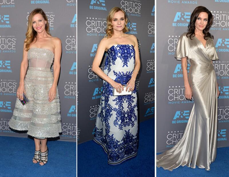 El metálico sigue en tendencia como lo demuestran los looks de Leslie Mann y Angelina Jolie. Diane Kruger eligió un patrón más clásico,