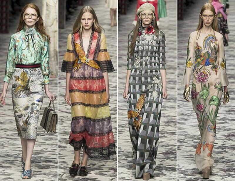 Los bordados y estampados de animales y plantas volvieron a hacer aparición en Gucci.
