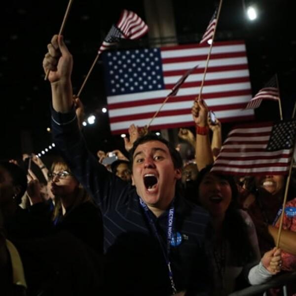 seguidores obama chicago celebrando