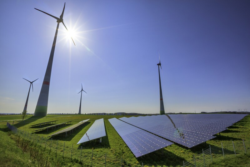 renewable energy: wind turbines and modern solar panels (HDRi)