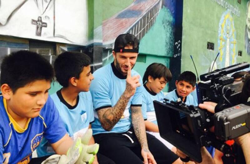 David Beckham durante su visita a Buenos Aires.