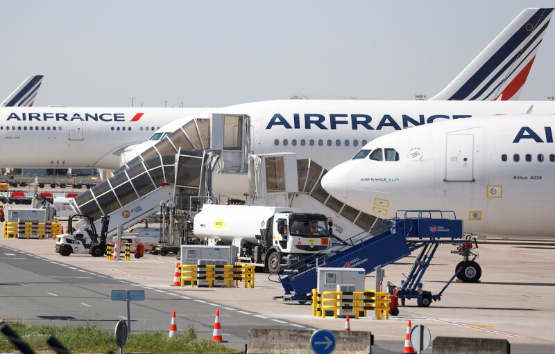 FILE PHOTO: ir France planes on the tarmac at Paris Charles de Gaulle airport in Roissy-en-France