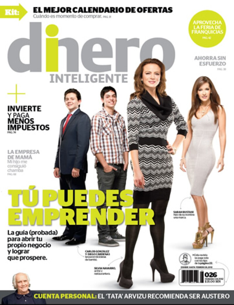 La revista Dinero Inteligente de febrero 2012 ofrece una guía para emprender. (Portada cortesía de Dinero Inteligente)