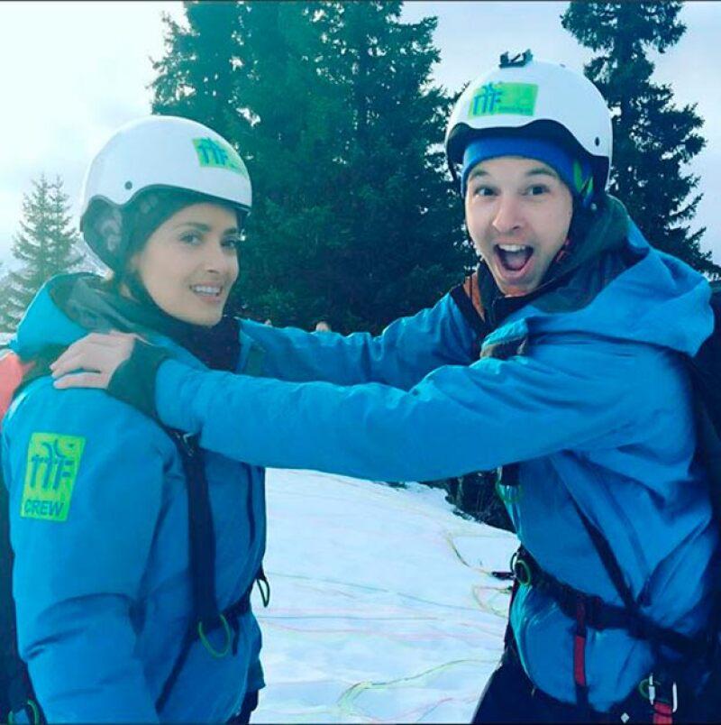 Salma y su coach, minutos antes de la caída.