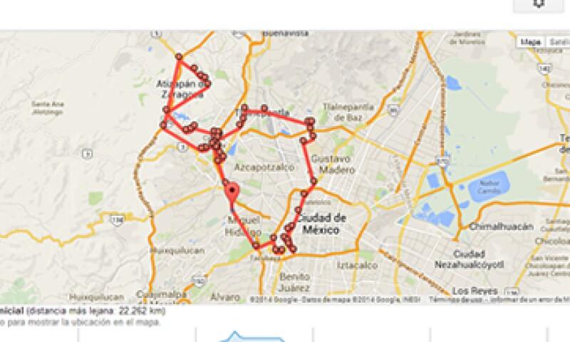 El historial de ubicaciones puede mostrar los recorridos realizados hace más de tres meses. (Foto: tomada de Google Maps)
