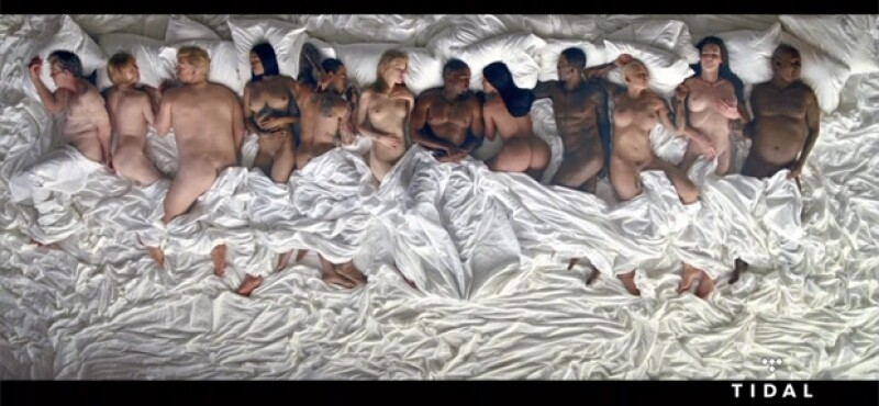 En el nuevo video de Kanye West, aparecen varios famosos desnudos.