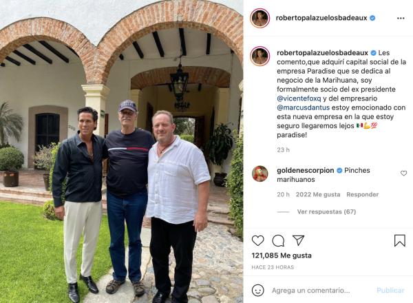 Roberto Palazuelos y Vicente Fox se asocian en el negocio de la mariguana