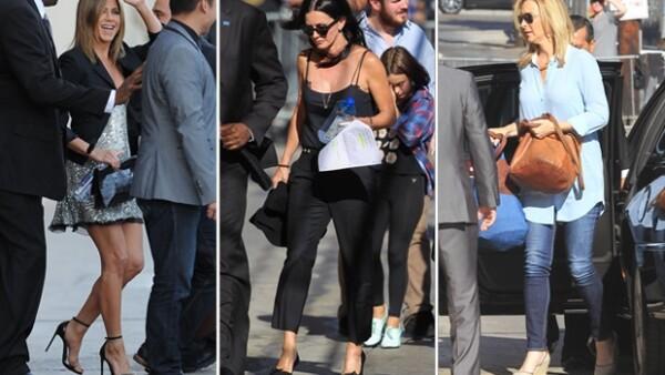 'Rachel', 'Mónica' y 'Phoebe' se reencontraron ayer por la noche en 'Jimmy Kimmel Live' en una cómica recreación del set de la serie.