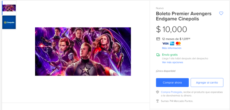 Avengers en 10,000 pesos
