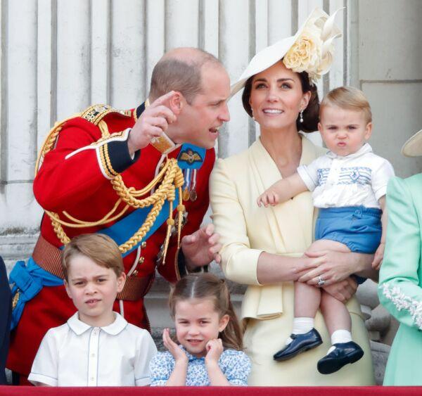 Príncipe William, príncipe George, princesa Charlotte, Kate Middleton y el príncipe Louis