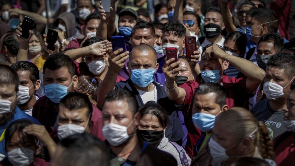 FILE PHOTO: Employees of Electrocomponentes de Mexico are seen during a protest to halt work amid the spread of the coronavirus disease (COVID-19), in Ciudad Juarez