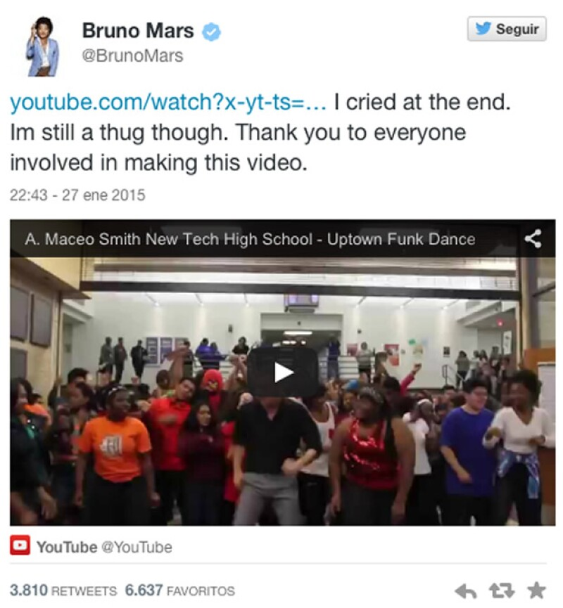 """El cantante agradeció en Twitter a los estudiantes de una escuela de Dallas y a su profesor que grabaron una versión de la canción """"Uptown Funk"""" del cantante de Hawái."""