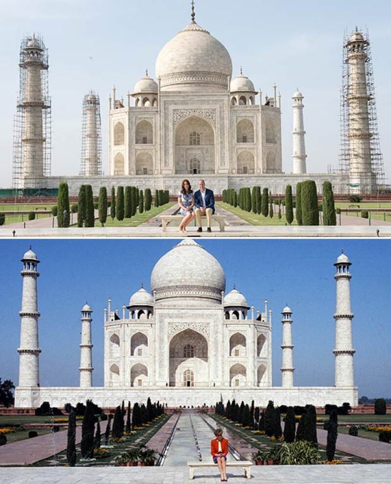 El momento en el que el príncipe William recreó la foto de su mamá en el Taj Mahal fue muy  comentado en internet.
