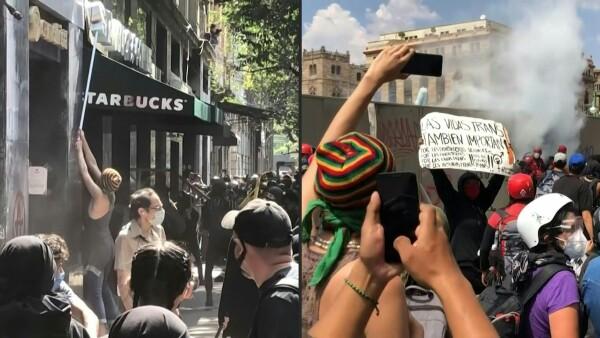 Las protestas contra violencia policial en México dejan destrozos en la capital
