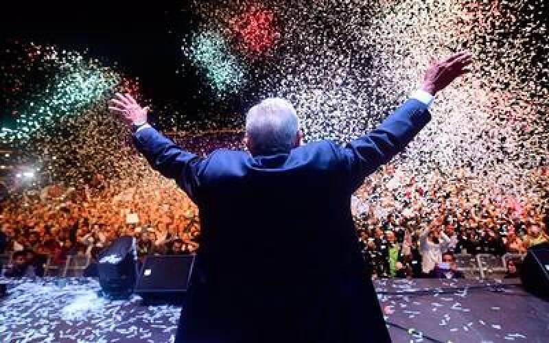 AMLO festejó en el Zócalo la noche del 1 de julio.