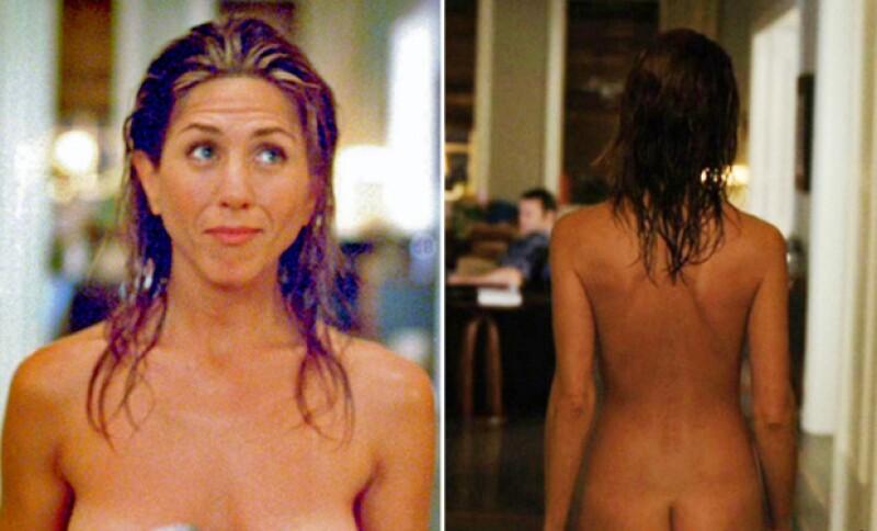 Probablemente esta ha sido una de las únicas ocasiones en que Jen Aniston se ha quitado por completo la ropa frente a la cámara.