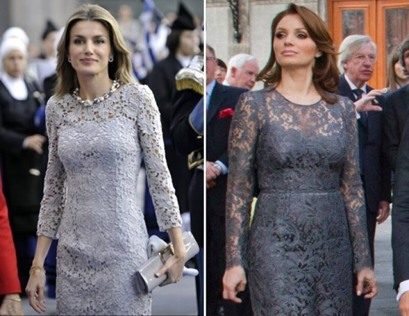 La Princesa en una visita oficial a Oviedo y la primera dama en la toma de protesta de su esposo en 2012.