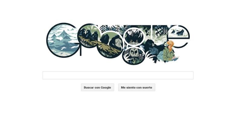 dian fossey, doodle, internet,gorilas, activista, homenaje, google, libro, pelicula