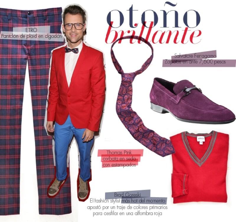 Brad Goreski, el fashion stylist más hot del momento apostó por un traje de colores primarios para desfilar en una alfombra roja.