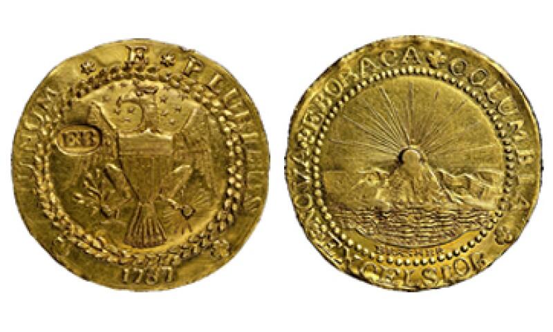 El doblón de oro, el primero acuñado en Estados Unidos, fue fabricado por un vecino de George Washington en NY. (Foto: EFE)