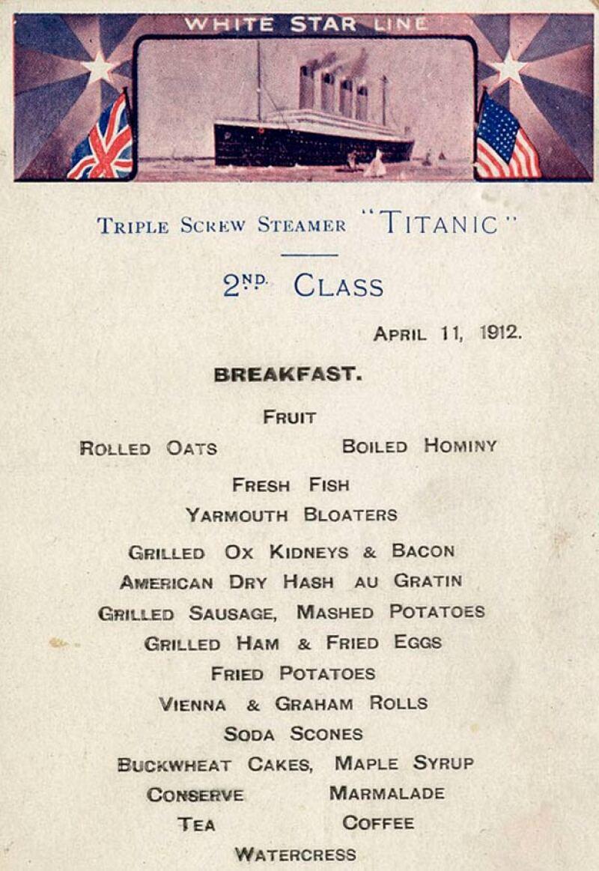 Este es el menú de desayuno y comida de la segunda clase.