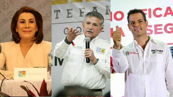 La priista Lorena Martínez (izq)  va a la delantera en Aguascalientes; José Estefan (centro), del PAN-PRD, y Alejandro Murat, del PRI, enfrentan elección cerrada en Oaxaca.
