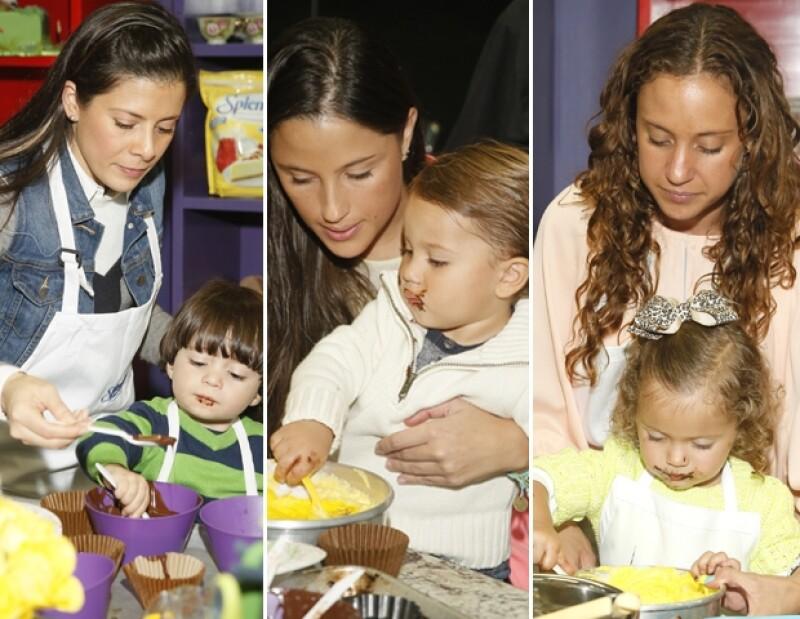 Patricio Islas, Emiliano Ramos y Macarena Incera siguieron las indicaciones de la chef con ayuda de sus mamás.